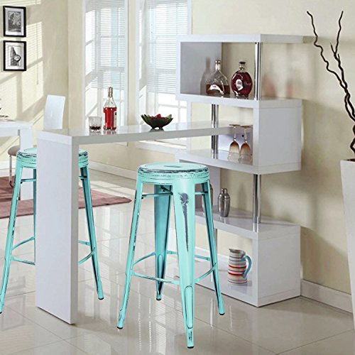 Adeco 30-inch Metal Stools, Vintage Barstool, Antique Light Blue, set of 2 3