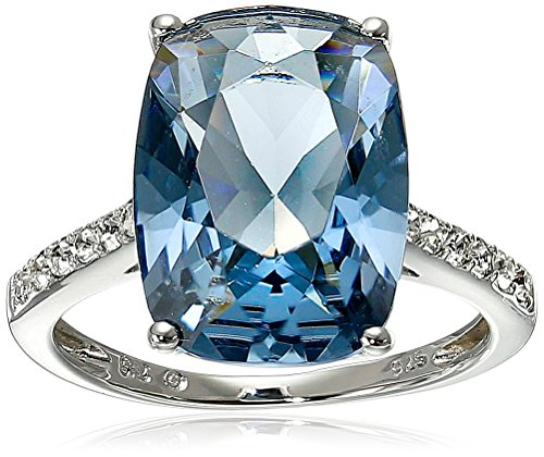 Sterling Silver Swarovski Denim Blue Color and Clear Crystal Ring, Size 6 (Silver Rings With Crystal Stone compare prices)