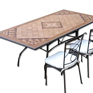 Tavolo in ferro battuto da giardino mosaico in pietra 160 for Tavoli amazon