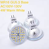 Weanas® 4x MR16 GU5.3 LED PA Spotlight Bulb Lamp 4 Watt AC 110V Warm White Undimmable 30W Halogen Track Bulb Equivalent Replacement 120° Beam Angle