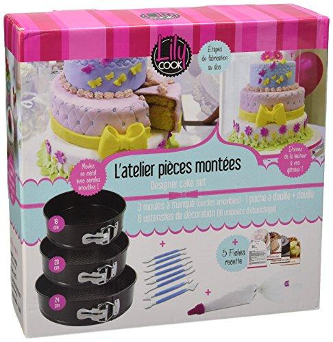 Lily Cook KDO8561 Coffret Cake Designer Acier au Carbone 18 cm, 20 cm et 24 cm.