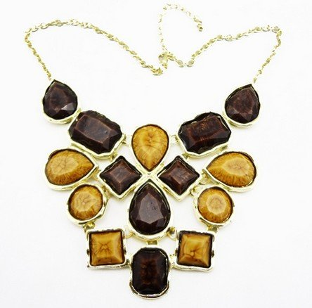 Brown Option Geometry Colorful Resin Stones Statement Necklaces(wp-49)