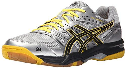 Asics Men's Gel-Rocket 7 Indoor Court Shoe, Silver/Onyx/Neon Yellow, 10 M US
