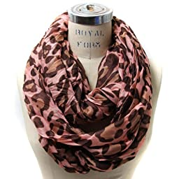 Scarfand\'s Leopard Infinity Scarf (Pink)