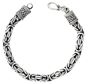 Sterling Silver Square BYZANTINE Chain Necklace 7mm Very Heavy Antiqued Finish Nickel Free, 20 inch