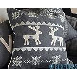 Paoletti Reindeer Scandinavian Christmas Wool Cushion Cover, Grey, 45 x 45 Cm