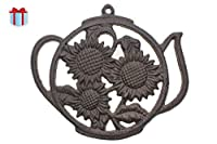 Cast Iron Trivet | Round with Sunflowers And Tea Pot | Decorative Cast Iron Trivet For Kitchen Or Dining Table | 7.7 x 6.7' | With Rubber Pegs | by Comfify CA-1504-13-BR