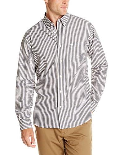 Dockers Men's Long Sleeve White Ground Stripe Shirt