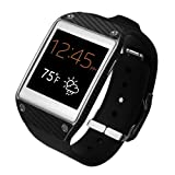 Skinomi® TechSkin - Samsung Galaxy Gear Screen Protector + Carbon Fiber Black Full Body Skin Protector / Front & Back Premium HD Clear Film / Ultra High Definition Invisible and Anti Bubble Crystal Shield with Free Lifetime Replacement Warranty - Retail Packaging
