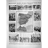 Impresión Antigua del ARMA 1909 del CERCO de las NAVES de GUERRA de ESPAÑA ALGECIRAS MILILLA