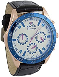 Addic EWWE Stylish Gold Tachymeter And Cream Dial With Black Leather Straps Watch For Men (49)