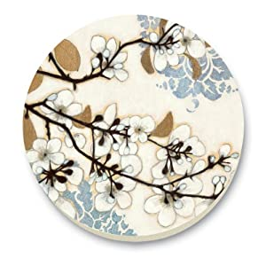 CounterArt Dogwood Branch Round Stone Trivet, 6-Inch by CounterArt