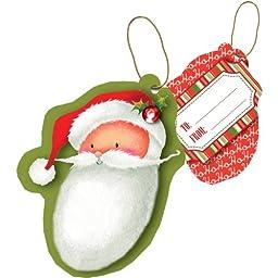 Jillson Roberts Christmas Sparkle String-Tie Gift Tags, Santa, 24-Count (XTS545)