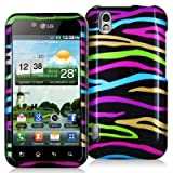 Rainbow Zebra on Black Design Crystal Hard Skin Case Cover New for LG Optimus Black P970 / LS855 / LG B - Electromaster(TM) Brand