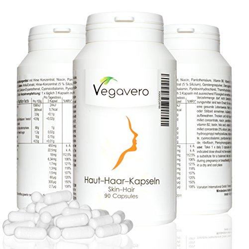 Integratore pelle e capelli | Vegavero | 90 capsule | con miglio, acido pantotenico, biotina, B1, B2, niacina, vitamina B12, acido folico | vegan | garanzia soddisfatti o rimborsati