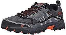 Fila Men\'s AT Tractile Running Shoe, Pewter/Black/Vibrant Orange, 9.5 M US
