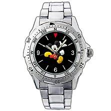buy Fashion Men Watch Pe121 Mickey Mouse All Black Running Joyful Smile Stainless Steel Wrist Watch