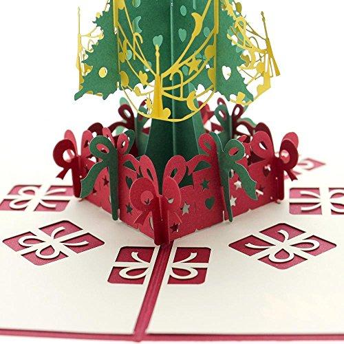 Carte de voeux 3D artisanal découpage Noël sapin