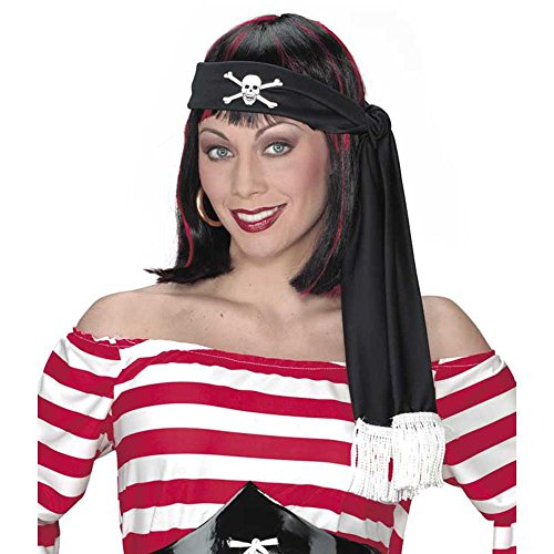 Black/Red Pirate Lady Halloween Costume Wig