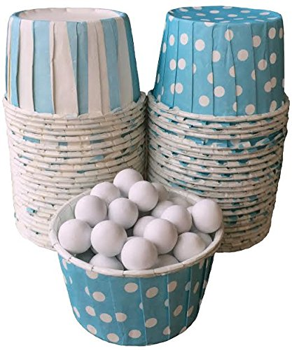 Outside the Box Papers Stripe and Polka Dot Candy Nut Cups 48 Pack Light Blue, White (Light Blue Party Cups compare prices)