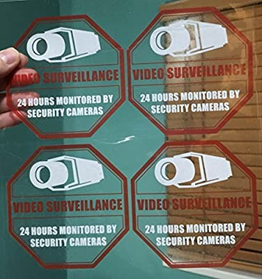 "**Front Self Adhesive Clear Vinyl** (4 Pack) 4"" wide X 4"" high Home Business Security DVR CCTV Camera Video Surveillance System Window Door Warning Alert Sticker Decals"