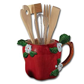 Best Red Kitchen Utensil Holders And Crocks Red Kitchen