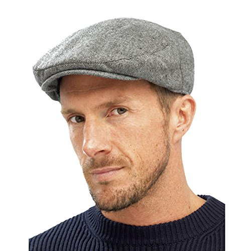 Men's Charcoal Grey M / L Raiken Country Traditional Peaked Flat Caps Quilt Lined Military Hats Size