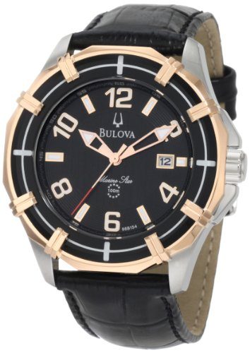 Bulova Men's Solano 98B154 Black Calf Skin Quartz Watch with Black Dial