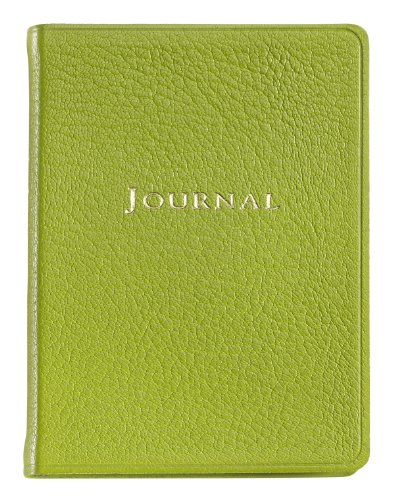 Graphic Image Small Travel Journal, Goatskin Leather, Lime (TJSMRBLGTILIM)