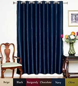 Navy Wide Width Nickel Grommet Top Thermal Insulated Blackout Curtain 80 Inch Wide