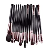 Maquillaje juego de brochas - TOOGOO(R)15 pcs/set Sombra de ojos Fundacion Ceja pincel de labios, Maquillaje juego de brochas (negro y cafe)