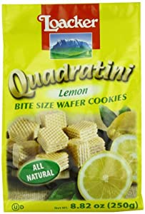 Loacker Quadratini Lemon Wafer Cookies, 8.82-Ounce Packages (Pack of 8)