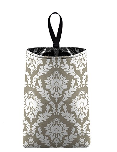 Auto Trash (Light Taupe Damask) by The Mod Mobile - litter bag/garbage can for your car (Damask Garbage Can compare prices)