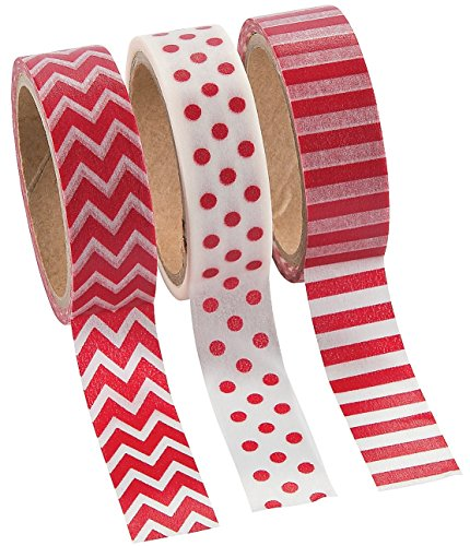 Red Washi Tape Set - 16 Ft. Of Tape Per Roll (3 Rolls Per Unit) - 1
