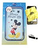 BUKIT CELL Disney ® Mickey Mouse Flexible TPU SKIN Protector Case Cover (Blue Mickey with Stars) for Apple iPhone 4S / 4G / 4 (Fits any carrier AT&T, VERIZON AND SPRINT) + Free WirelessGeeks247 Metallic Detachable Touch Screen STYLUS PEN with Anti Dust Plug