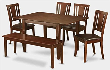6-Pc Wooden Dining Set with Extension Table