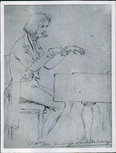 Vintage photo of A portrait sketch of a Polish composer and virtuoso pianist of the Romantic era FrÃdÃric François Chopin while playing piano. (Virtuoso Playing compare prices)