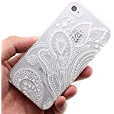 4s Case, LUOLNH Henna White Floral Paisley Flower Hard Plastic Clear Case Silicone Skin Cover for Apple Iphone 4 4G