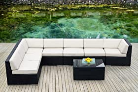 Ideal Ohana Collection PN Piece Outdoor Patio Sofa Sectional Wicker Furniture Couch Set White