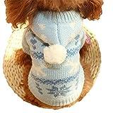 冬でもあったか オシャレ で かわいい ノルディック柄 ペット服 犬 猫 ニット ウェア フード付き お出かけ お散歩 (05.ブルー M)