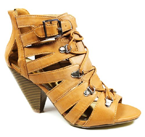Jjf Shoes Isbel Camel Strappy Lace Up Peep Toe Chunky Wood Heel Buckle Roman Dress Sandals-8.5 front-1078977