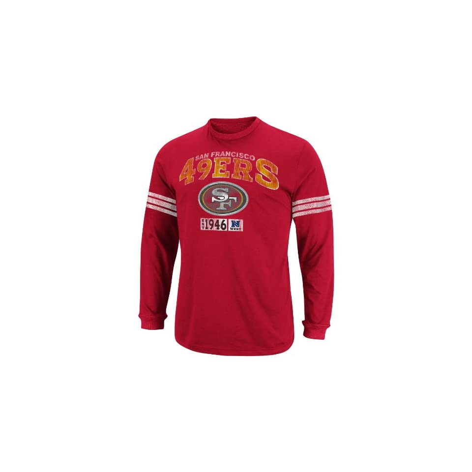 NFL Mens San Francisco 49ers Victory Pride IV Brght Crdnl/Ath Gry Heather Long Sleeve Crew Neck Colorblked Tee