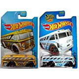 Hot Wheels 2014 Mainline Yellow & White Surfin School Bus 2-car Variant Set