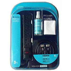Seiki SK100K TV Starter Kit with HDMI Cable, Surge Protector, Screen Cleaner and Microfiber Cloth