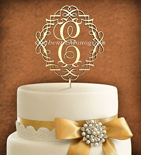 "5""Inch Cake Topper - Custom Monogram Wooden Painted, Monogram In Frame - Wedding, Initial, Celebration, Anniversary, Birthday, Special Occasion front-961114"