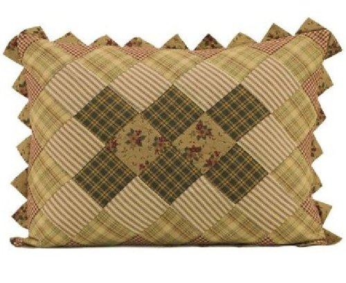 Set Of 2 Winslet Quilted Reversible Patchwork Sawtooth Country Style Pillow Shams - 21X27""