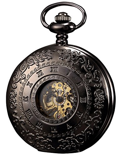KS Mechanical Pocket Watch Roman Number Half Hunter Antiqued Black Case KSP044 (Roman Number Dial Watch compare prices)