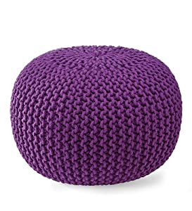 Hand-Knitted Pouf Ottoman in Purple from Plow & Hearth®