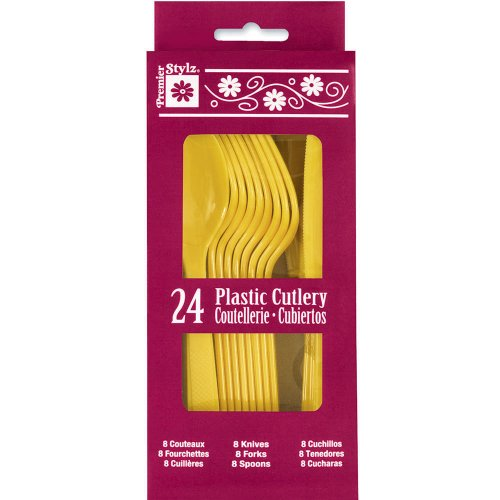 Yellow Plastic Cutlery Set For 8