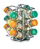 Premier Housewares Revolving Spice Rack with 12 Schwartz Jars - Chrome